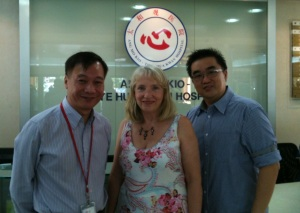 Ang Mo Kio-Thye Hua Kwan Hospital: Professor Edward Poon, Director of Nursing, (left) with Professor Sheila Payne and a colleague