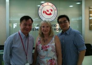 Ang Mo Kio-Thye Hua Kwan Hospital: Professor Edward Poon, Director of Nursing, (left) with Professor Sheila Payne and a colleague