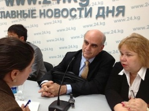 Stephen Connor (centre) speaking at the World Hospice and Palliative Care Day press conference in Bishkek