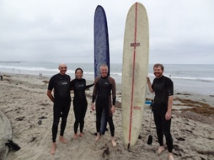 Surfing: (Left to right) John Ellershaw, Holly Yang, Carl-Johan Fürst and Lukas Radbruch