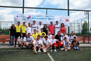 Football tournament at Sports Centre, Kovilova. Dr Natasa Milicevic is in the back row, fourth from right