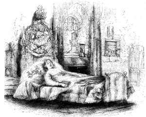 "'Her couch was dressed with here and there some winter berries and green leaves, gathered in a spot she had been used to favour. ""When I die, put near me something that has loved the light, and had the sky above it always."" From The Old Curiosity Shop by Charles Dickens, image by George Cattermole."