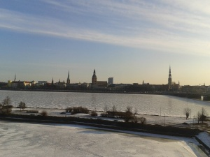 A winter's tale: view of a frozen Daugava