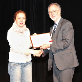 Rudina Rama at the awards ceremony. Rudina's poster, 'Need Assessment of Terminal Cancer Patients in Albania', was placed joint-second in the Developing Countries category