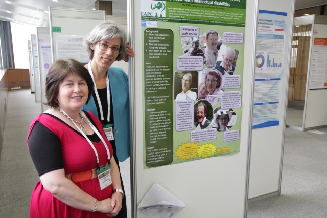 Irene Tuffrey-Wijne (right) and Dorry McLaughlin at the EAPC Congress in Prague, presenting a poster on their task force