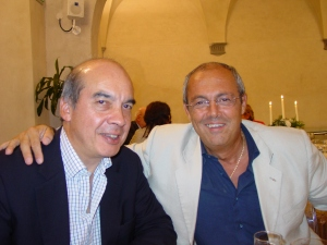Professor Geoff Hanks (left) with Franco De Conno – at a meeting in Pisa in 2006