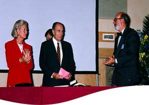 The Duchess of Kent, President Francois MItterand and Dr Maurice Abiven