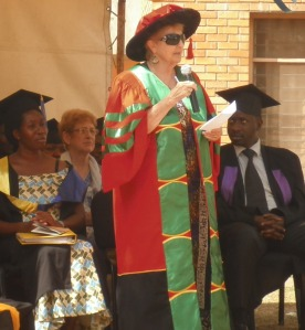 Dr Anne Merriman speaking at the graduation ceremony at Hospice Africa Uganda on 21 February 2014