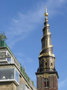 The Church of Our Saviour with external, spiral staircase and a great view across Copenhagen