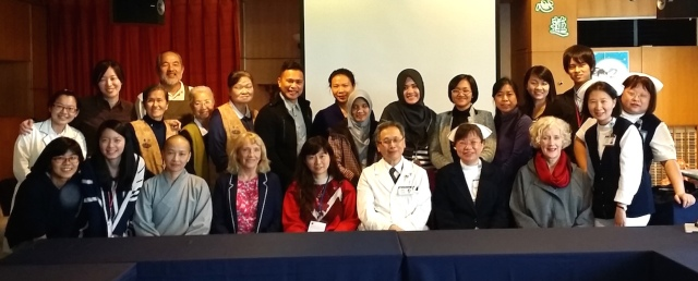 Dr Wang and his team. Also pictured are Prof Sheila Payne ((4th from the left) and Prof Margaret O'Connor (third from right)