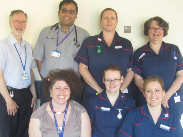 (Left to right): Dr David Oliver, Dr Sandip Banerjee, Dr Lisa Vincent-Smith and the Specialist Respiratory Team at Medway Maritime Hospital
