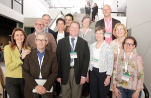 Phil Larkin with members of the EAPC Board. Front row: (l-r): Danila Valenti, Christoph Ostgathe, Philip Larkin, Irene Murphy, Mai-Britt Guldin. 2nd row: Josep Porta-Sales, Tiina Saarto. Third row: David Oliver, Anne de la Tour, Daniela Mosoiu, Catherine Walshe, Carlo Leget. (Board member Paul Vanden Berghe is missing from the picture)