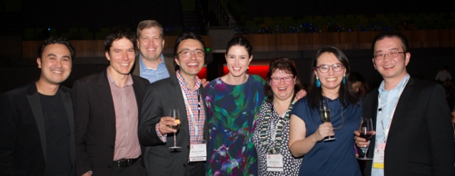 Team Palliverse at the 13th Australia Palliative Care Conference, Melbourne, September 2015. Left to right: Jason Mills, Craig Sinclair, Christian Sinclair, Michael Chapman, Anna Collins, Sonia Fullerton, Elissa Campbell, Chi Li.