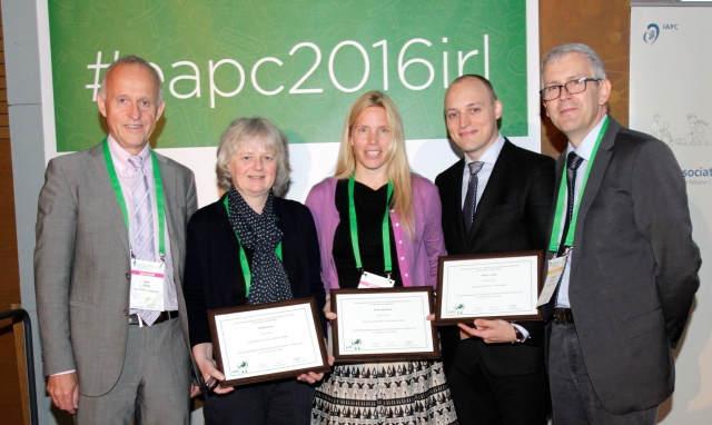 2016 Early Researcher Award ceremony: (L to R) Prof Stein Kaasa (Chair EAPC Research Network), Dr Bridget Candy, Dr Kirsten Wentlandt, Dr Martin Loučka and Prof Christoph Ostgathe (EAPC board member)