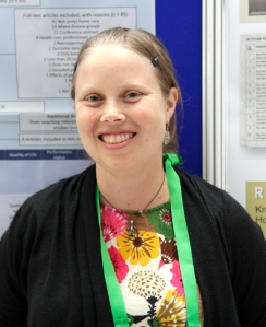 Mie Nordly with her poster, Home‐based Specialized Palliative Care in Patients with Advanced Cancer: A Systematic Review