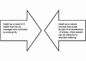 Figure 2. Health care versus health control, the differing approaches to death and ill health
