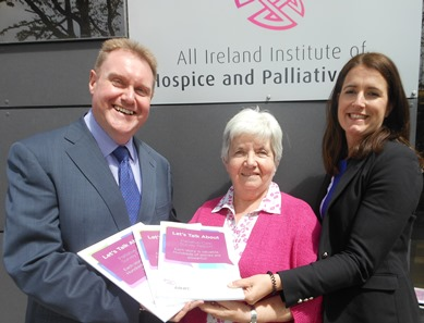 Pictured with the Let's Talk About report are (left to right): Prof. Philip Larkin, AIIHPC Chair and President of the EAPC; Mrs Eithne Frost, Voices4Care member attending AIIHPC Council of Partners; Ms Karen Charnley, Head of AIIHP