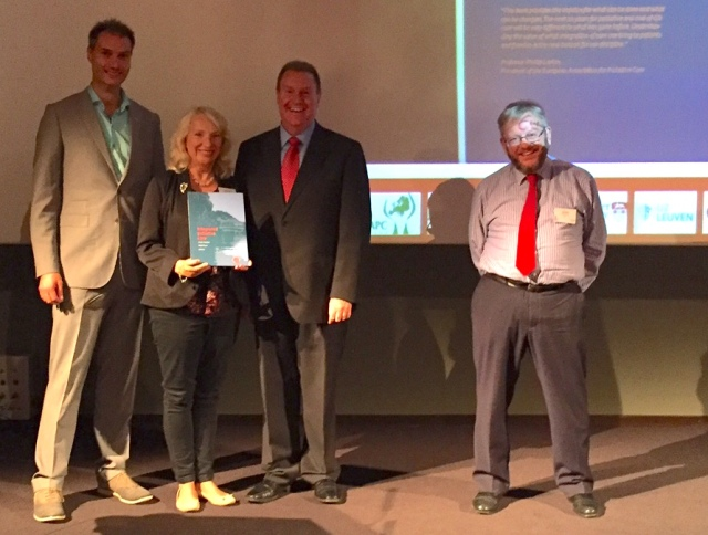 Launch of 'Integrated palliative care' – left to right: editors, Jeroen Hasselaar and Sheila Payne, Phil Larkin and Bill Noble