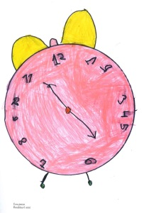 "The crazy hour – Drawing by a six-year-old girl: "" I wish to stop the time, I wish it never became night, I want to play more."""