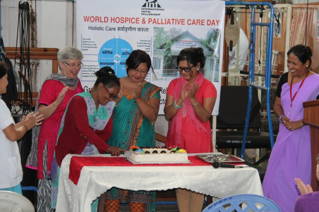 Patients, relatives and staff celebrate World Hospice and Palliative Care Day at Green Pastures Hospital in Pokhara
